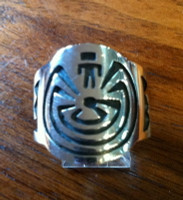 RINGS HOPI SILVER MAN IN THE MAZE Mitchelle Sockyma SOLD