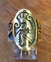 RINGS HOPI SILVER GOLD OVERLAY KOKOPELLI Marvin Lucus