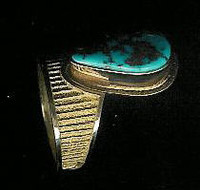 RINGS*NAVAJO*GOLD*MORENCI TURQUOISE*AL Nez SOLD