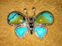 PIN SILVER TURQUOISE BUTTERFLY AQUAMARINE PERIDOT