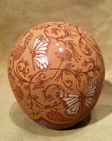 Pottery Santa Clara Incised Polychrome Butterfly Floral Designs Red Round Seed Pot Rosemary Lonewolf Apple Blossom PSCRLAB6