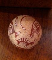 Pottery Santa Clara Red & Tan Incised Cat Dog Rabbit Round Seed Pot Joseph Lonewolf PSCJL4