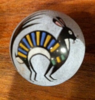 Pottery Santa Clara Polychrome Miniature Incised Rabbit Round Seed Pot Joseph Lonewolf