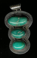 PENDANT NAVAJO STERLING SILVER & TURQUOISE A Jake SOLD