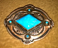 PIN NAVAJO STERLING SILVER TURQUOISE SOLD