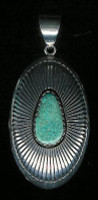 PENDANT NAVAJO STERLING SILVER & TURQUOISE Kee Nez