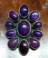 PENDANT NAVAJO SILVER SUGILITE CLUSTER KRS SOLD