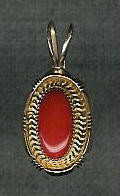 PENDANTS NAVAJO CORAL & 14KT GOLD OVAL Jim Yazzie SOLD