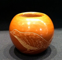 SANTA CLARA POTTERY SMALL 2 SIDED BIRD INCISED POT Corn Moquino