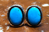 NAVAJO SILVER TURQUOISE OVAL CUFF LINKS Denetdale NSTOCLD3 SOLD