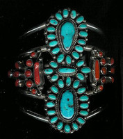 Navajo Silver Turquoise & Coral Pawn Bracelet NSTCPB5