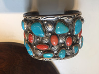 Navajo Silver Turquoise & Coral Pawn Bracelet NSTCPB10