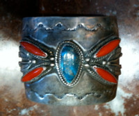 Navajo Silver Turquoise & Coral Pawn Bracelet