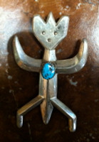 Navajo Sterling Silver Figurative Sandcast Pawn Pin Pendant SOLD