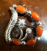 Navajo Sterling Silver Coral Pin Pendant Simplicio