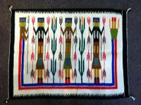 Navajo Indian Rug Yei Rainbow God Weaving Textile