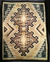 Navajo Indian Rug Two Grey Hills Double Diamond Weaving 1930's SOLD