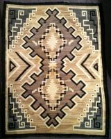 Navajo Indian Rug Two Grey Hills Double Diamond Weaving 1930's SOLD