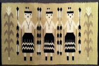Navajo Indian Rug Two Faced Yei Weaving 1960's
