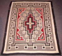 Navajo Indian Two Grey Hills Rug 1950's JB Moore inspired