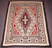 Navajo Indian Two Grey Hills Rug 1950's JB Moore inspired