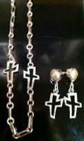HOPI SILVER CROSS NECKLACE EARRING SET Victor Masayesva