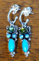 Feeney Sterling Silver Turquoise Aquamarine Peridot Hoop Dangle Earrings SOLD