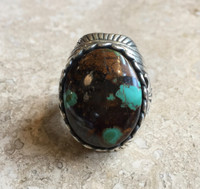 RINGS NAVAJO OVAL ROYSTON TURQUOISE HEAVY STERLING SILVER LARGE MEN'S RING 11 3/4 Harley Jake