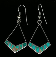 EARRINGS ZUNI BLUE GEM TURQUOISE MULTI-INLAY DANGLE FRENCH WIRE