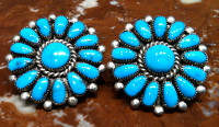 EARRINGS ZUNI TURQUOISE LARGE ROUND CLUSTER Lorraine Waatsa SOLD