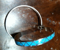 EARRINGS ZUNI TURQUOISE INLAY LARGE HOOPS SOLD