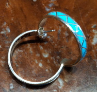 EARRINGS ZUNI TURQUOISE INLAY HOOPS Joanne Peina