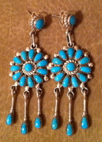 EARRINGS ZUNI TURQUOISE CLUSTER DANGLE CHANDELIER Lorraine Waatsa SOLD