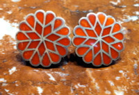 EARRINGS ZUNI CORAL MULTI-INLAY ROUND FLORAL PAWN SCREWBACK