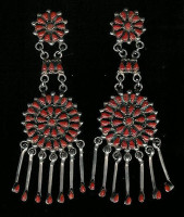 EARRINGS ZUNI CORAL CLUSTER DANGLE CHANDELIER SOLD