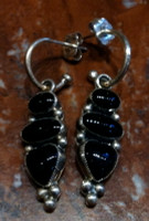 EARRINGS STERLING SILVER ONYX DANGLE Don Lucas ESSODDL41