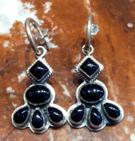 EARRINGS STERLING SILVER ONYX DANGLE Don Lucus