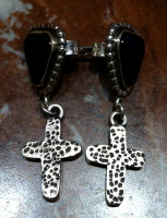 EARRINGS NAVAJO STERLING SILVER ONYX CROSS DANGLE