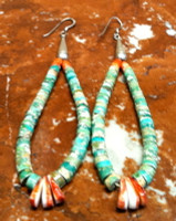 EARRINGS SANTO DOMINGO ROYSTON TURQUOISE DANGLE FRENCH WIRE Ray Lovato SOLD