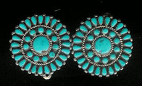 EARRINGS*ZUNI*TURQUOISE*ROUND*CLUSTER*CLIP