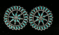 EARRINGS*ZUNI*TURQUOISE*NEEDLEPOINT*ROUND*SOLD