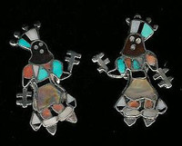 EARRINGS*ZUNI*TURQUOISE*MULTI-STONE*INLAY*CLIP*APACHE DANCER*PAWN*Vera Luna SOLD