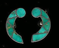 EARRINGS*ZUNI*TURQUOISE*INLAY*SCREWBACK*PAWN SOLD