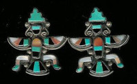 EARRINGS*ZUNI*TURQUOISE INLAY*KNIFEWING*PAWN*SCREWBACK