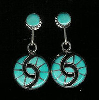 EARRINGS ZUNI TURQUOISE DANGLE HUMMINGBIRD INLAY Amy Quandelacy