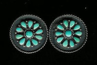 EARRINGS*ZUNI*TURQUOISE*CLUSTER*SCREWBACK*PAWN