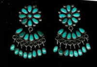 EARRINGS*ZUNI*TURQUOISE*CLUSTER*DANGLE*FRENCH WIRE*PAWN SOLD
