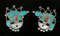 EARRINGS*ZUNI*MULTI-INLAY*SUNFACE*PAWN*SCREWBACK