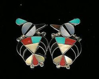 EARRINGS*ZUNI*MULTI-INLAY*RAINBIRD*EL