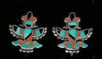 EARRINGS*ZUNI*MULTI-INLAY*KNIFEWING*PAWN*SCREWBACK ERZMKSP4